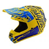 Casque Troy Lee Designs SE4 Polyacrylite Factory Jaune Bleu
