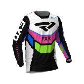 FXR Podium MX Jersey Black/White/E Pink/Lime/Blue