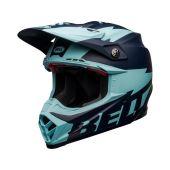 BELL Moto-9 Flex Casque de cross Breakaway Mat Bleu marine/Bleu clair