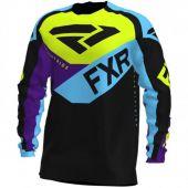 FXR Podium MX Jersey Black/Sky Blue/Purple/Hi Vis