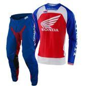 Troy Lee Designs Tenue de cross Se Pro Boldor Honda Rouge Bleu