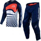 Troy Lee Designs Tenue de Motocross GP Drift Bleu marine Orange